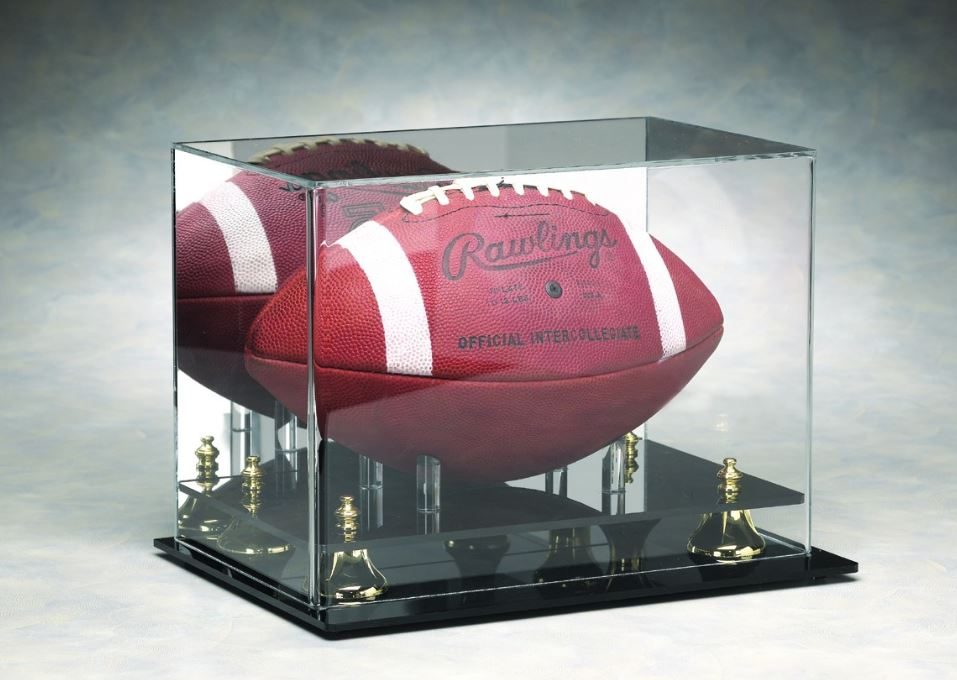 Football Display Case - Acrylic Tabletop Display with Mirror Back